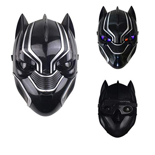 Baipin Mscara de Pantera Negra con Luces LED, Cosplay Disfraz Black Panther Accesorios para Disfraz para Carnaval Halloween