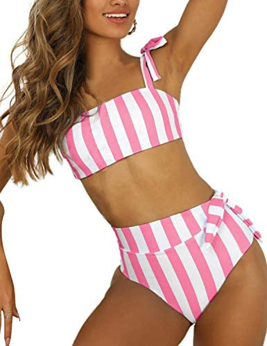 Blooming Jelly Womens High Waisted Bikini Set Tie Knot Bathing Suit Striped Hi Rise Two Piece product image