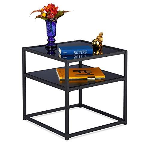 Relaxdays Beistelltisch, quadratischer Couchtisch, Schwarzglas, Metall & MDF, modern, Wohnzimmer, 50x50x50 cm, schwarz