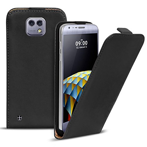 Preisvergleich Produktbild Conie BF18967 Basic Flip Kompatibel mit LG X Cam,  PU Leder Hülle Cover Klapphülle für X Cam Tasche Schwarz