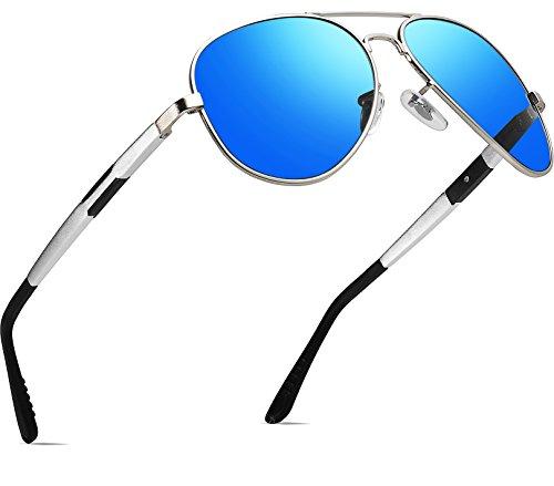 ATTCL Hombres Polarizadas Gafas De Sol Al-Mg Metal Ultra Light 16695 Azul