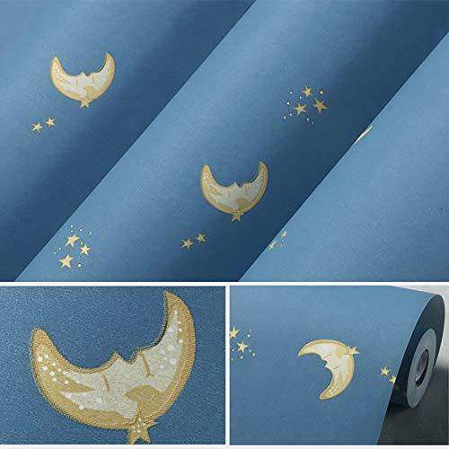Xnxn Luna Y Estrellas Papel Pintado Wallpaper Rodillo,Vinilo Non-Propio-Cubierta De Pared De Dibujos Animados Adhesivo para Niños Cuarto De Baño Dormitorio Sala De Estar Azul Marino 0.53 * 10m