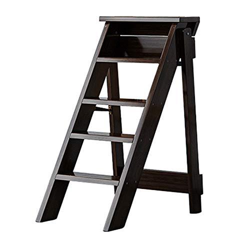 Folding 5 Step Ladder Chair Wooden Foldable Ladder Stool, Multifunction Library Shelf Climb Steps Bookshelf Plant Stand, Portable Step Stool Stepladders