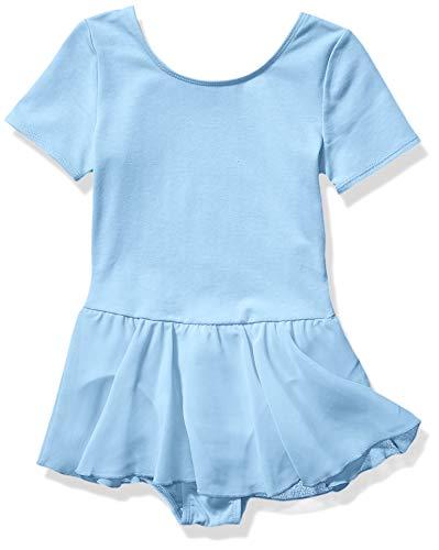 Amazon Essentials Girl's Short-Sleeve Leotard Dress, Light Blue, Large