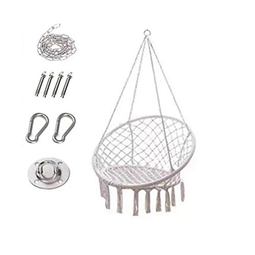 Swing Chair Hanging Chair with Soft Cushion & Durable Hanging Hardware Kit, Comfortable Macrame Hammock,Sturdy Hanging Chairs, for Indoor, Outdoor, Home, Patio, Yard, Garden (Beige)