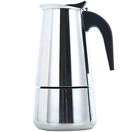 ZLININ Y-longhair Kaffeekessel 4 Tassen 200 ml Edelstahl Espressokocher mit Kupfer-Sicherheitsventil Perkolator Kaffeemaschine Mokkakanne Sahne & Milchkännchen (Farbe: Silber, Größe: 200 ml)