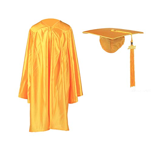 FtyFty Shiny Kindergarten Graduation Cap and Gown Set (24, Gold)
