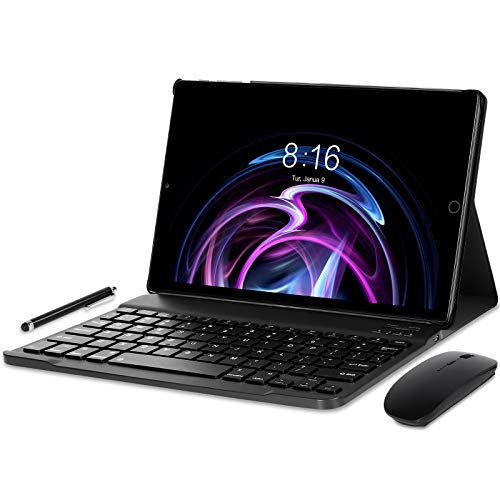 Tablet 10 pollici Android 10.0 - YUMKEM Tablet 4GB RAM 64GB ROM con 8 Core 1.6 GHz   WiFi   Bluetooth   GPS   MicroSD 4-128 GB, con Tastiera/Mouse/Custodia per Tablet - Grigio