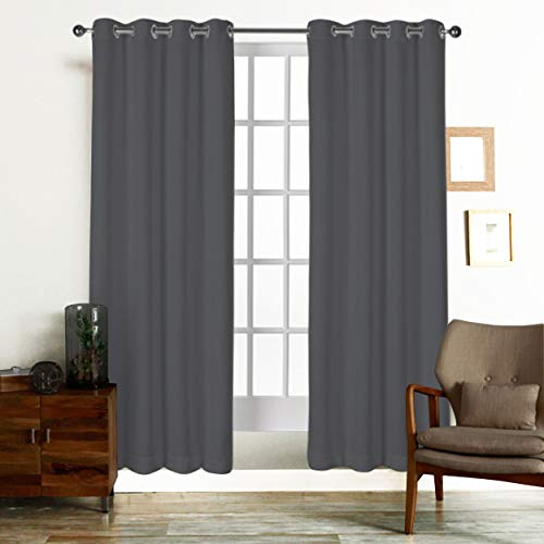 Tiny Break Curtains for Living Room and Bedroom, Made of 100% Natural Cotton, Eco Friendly & Safe, Grey Curtains 84 inch Long, Window Curtains Set of 2 Panels, Light Reducing Curtains