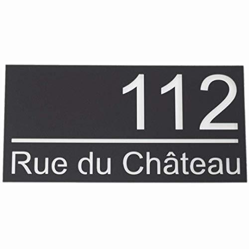 Numéro de maison en acrylique mat exceptionnel - 30x15cm 40x20cm 50x25cm- Plaque de signalisation de porte moderne à aspect flottant - entretoise en aluminium