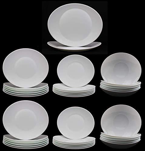 Fitting Gifts Bistro Collection Service de Table Prometeo de Forme Ovale, Blanc Brillant, avec 12x Grandes Assiettes, 12x Assiettes à Dessert, 12x Assiettes Creuses et 2X Plat de Service (38 Pièces)