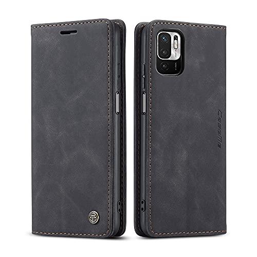 AiMok Hülle Kompatibel mit Xiaomi Redmi Note 10 5G, Klappbar PU Lederhülle mit [Kartenfächer] [Standfunktion], TPU Innenschale Handyhülle Stoßfeste Flip Schutzhülle für Xiaomi Poco M3 Pro - Schwarz