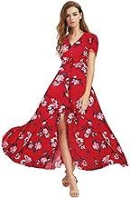 Milumia Women Button Up Floral Print Party Split Flowy Maxi Dress Red Floral X-Large