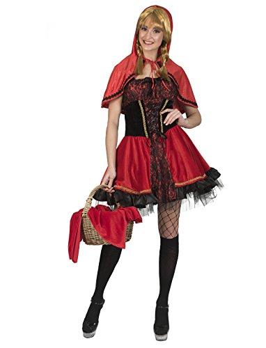 Funny Fashion Disfraz de Caperucita Roja para mujer, color rojo/negro, sexy, vestido con capucha para carnaval, despedida de soltera, fiesta temtica rojo y negro 38-40