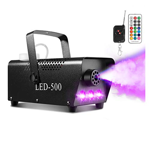 Smoke Machine, AGPTEK Fog Machine with 13 Colorful LED Lights Effect, 500 W and 2000CFM Fog with 1 Wired Receiver and 2 Wireless Remote Controls, Perfect for Wedding, Halloween, and Stage Effect
