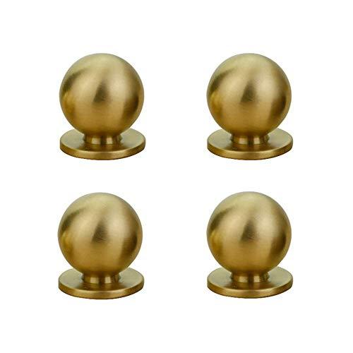 RZDEAL 4pcs 19MM Diameter Round Solid Brass Pulls Antique Cabinet Drawer Small Handles Modern Minimalist Handles Knobs (Gold)