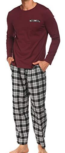 Schlafanzug Herren Lang Pyjama Nachtwäsche Schlafhose Oberteile Schlafshirt mit Taschen für Männer Herbst Winter Zuhause Rot