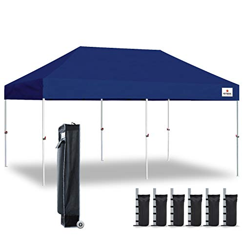 Keymaya 10x20 Ez Pop Up Canopy Tent Commercial Instant Shelter Canopies with Heavy Duty Roller Bag,Bonus 6 Canopy Sand Bags (Navy Blue)