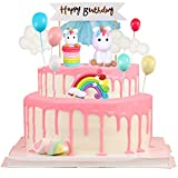 BESLIME Einhorn tortendekoration, Tortendeko Einhorn,Geburtstag Kuchen Regenbogen Happy Birthday...