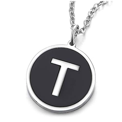 COOLSTEELANDBEYOND Womens Mens Steel Silver Black Name Initial Alphabet Letter T Circle Pendant Necklace, 18 inch Chain