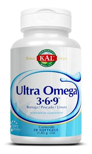 KAL Ultra omega 3-6-9, Aceite de linaza orgánica, Aceite de pescado y Aceite de semilla de borraja/ 50 cápsulas softgel, Adicionado con Vitamina E