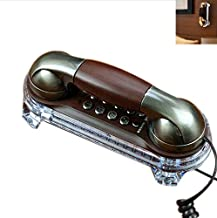 Antique Retro Wall Mounted Telephone Fashionable Corded Phone Vintage Telephone Landline Telephone with Bottom Blue Light for Placing Table and Hanging Wall (Bronze/Red Copper)