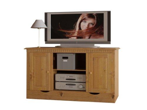 Loft24 A/S HiFi TV-Bank Lowboard Kiefer massiv Fernsehschrank Fernsehtisch Natur Landhaus Wohnzimmer Schrank 124,5 x 55 x 69,3 cm