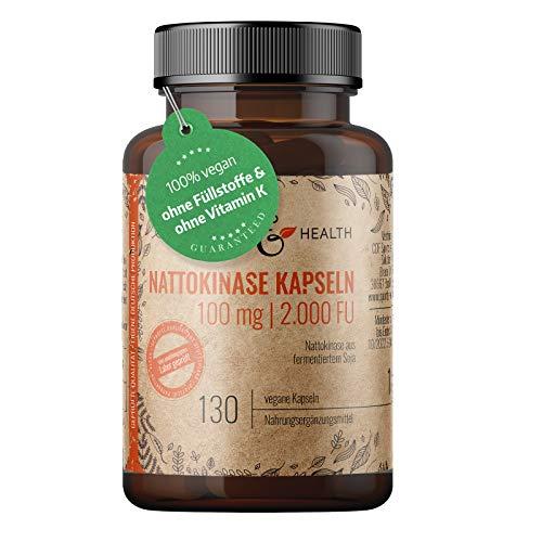 Nattokinase Kapseln - 100mg pro Kapsel - 20.000 FU/g - 130 Kapseln - Ohne Zusätze - Ohne Vitamin K - Nattokinase aus fermentiertem Soja
