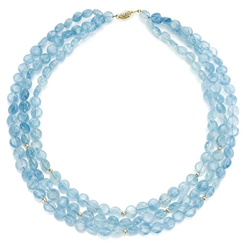 La Regis Jewelry 14k Yellow Gold 3-Rows 8mm Simulated Aquamarine Gemstones with Rondell Necklace, 16'