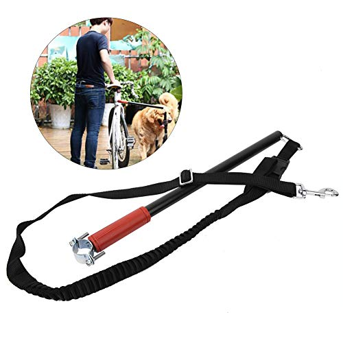Dog Bike Leash,Universal Hands Free Adjustable Fixator Pet Bicycle Stainless Steel Exerciser Rope with Elastic Traction Belt Leash Belt Keeper for Big Dog/Puppy