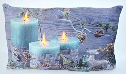 Jürgen Schleiß Konfektion Scheibengardine mit LED Beleuchtung Fotodruck Weihnachten 45x160 cm Weihnachtsgardine beleuchtet Bistrogardine mit Schlaufen Kissen Kerze (Kissen m.Füllung 30x50cm)