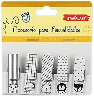 Starplast 132209 - Mini Pinzas de Madera Decoradas, diseños Animales, 20 Unidades, Incluye Cuerda de Lino