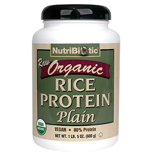 NutriBiotic Certified Organic Rice Protein Plain| 21 Ounce| Low Carbohydrate Vegan Protein Powder |Non-GMO| Gluten Free| Raw| Chemical-free Processing| Certified Kosher Keto Friendly| Easy to Digest