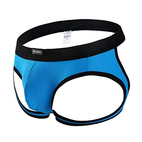 WOCACHI Underwear for Mens, Erotic Men's Thong Underwear Pants Briefs Sexy Underwear Underwear July 4th Best Gift Boyfriend Choice Fiber Vary Tartan Sets Blue