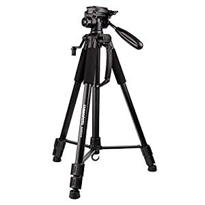 CAMBOFOTO 62''/160cm Lightweight Travel Tripod for Camera with built in Spirit Level and 3-Way Panhead Tilt Motion for SLR/DSLR
