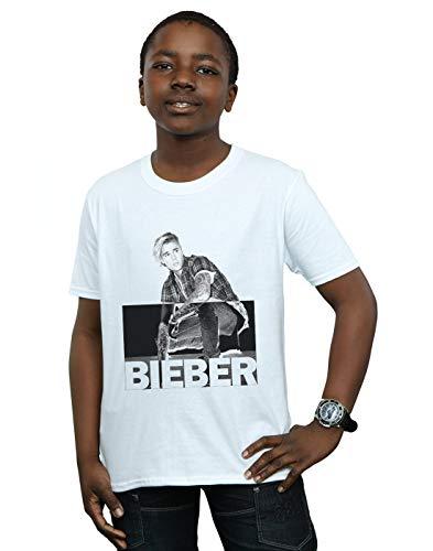 Justin Bieber Niños Split Contrast Camiseta Blanco 12-13 Years