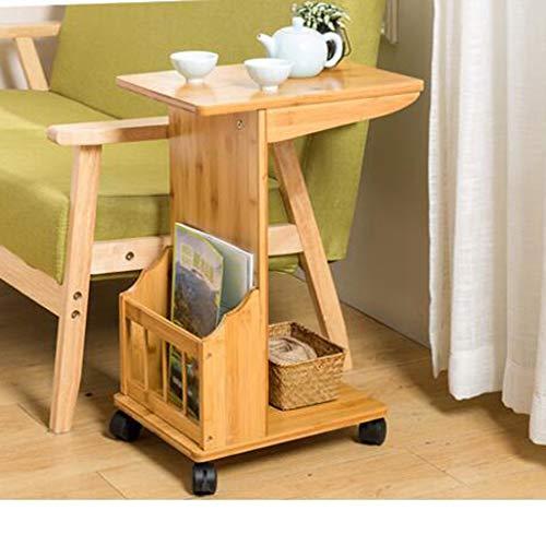DNSJB Afneembare zijkast, hoekig, kleine salontafel bamboe bamboe woonkamer, eenvoudig theerek, kleine tafel bijzettafel