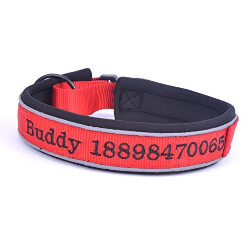 Wrily Personalisierte Reflektierend Hundehalsbänder Bestickt Nylon Haustier Kragen mit Haustier Name/Telefonnummer Hunde-Halsbänder breit Leuchtend verstellbar Rot