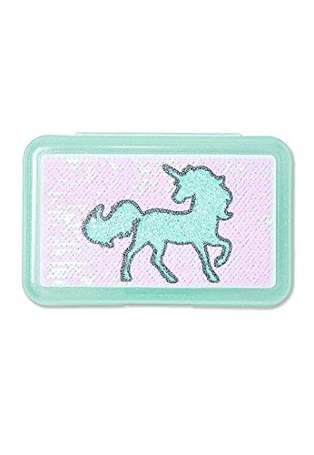 Justice Pencil Box Unicorn For Home, School, and Office - Hard Pencil Case for Pens, Markers, Glue, Scissors, and Colored Pencils - Cute Blue Flip Sequin Design Cover