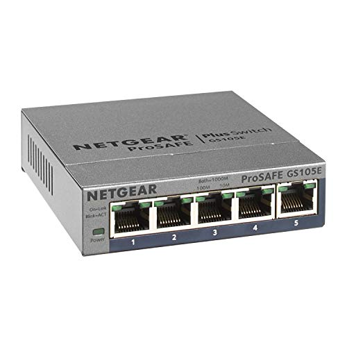 NETGEAR (GS105E) Switch Ethernet 5 Ports RJ45 Gigabit (10/100/1000), Smart Manageable, Bureau ou Rackable, Métal, Silencieux , Protection ProSAFE, Garantie à Vie Parfait pour les PME et TPE