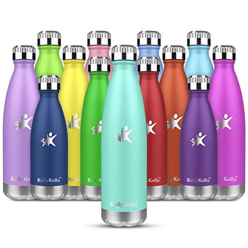 KollyKolla Botella de Agua Acero Inoxidable, Termo Sin BPA Ecológica, Botellas Termica Reutilizable Frascos Térmicos para Niños & Adultos, Deporte, Oficina, Yoga, Ciclismo, (350ml Macaron Verde)
