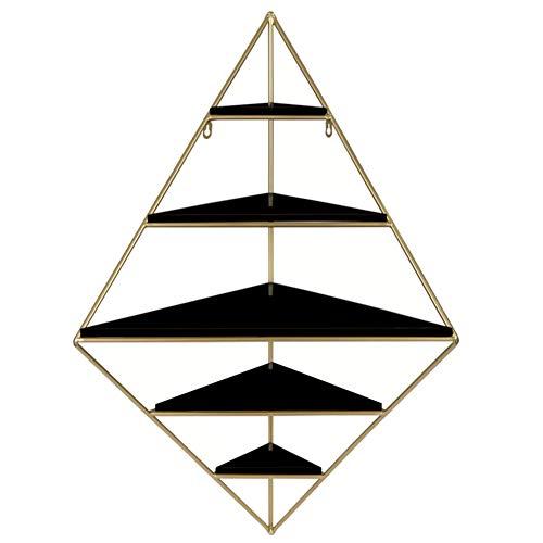 L&T Estantería flotante de esquina de 5 niveles para montar en la pared, estante triangular de madera, soportes de metal para colgar estante de pared, organizador de decoración de plantas, color negro