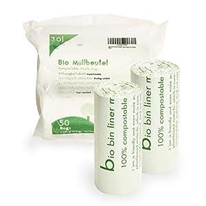 Plantvibes ® Bolsas de Basura compostables 100 Bolsas de Basura orgánicas, 100% Biodegradable (30L)