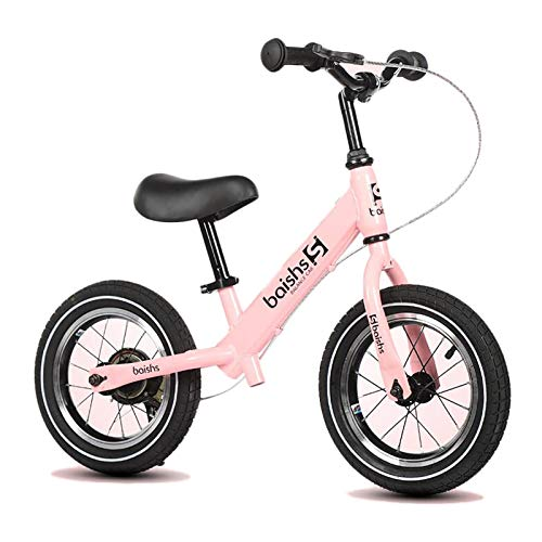 Hs&sure Toddlers Stride Bikes with Brake, 12 Inch Air Tires Without Pedal Balance Bicycle for Age 2-3-4-5-6 Kids, Sports Exercise Fun (Color : PINK)