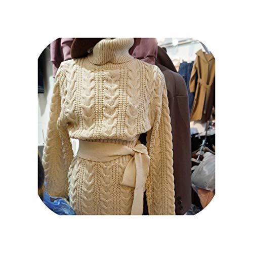 Green Plaid Herbst Winter Vintage Damen Wollkleid Verdickung Strickkleid Strickpullover Kleider Gr. One size, beige