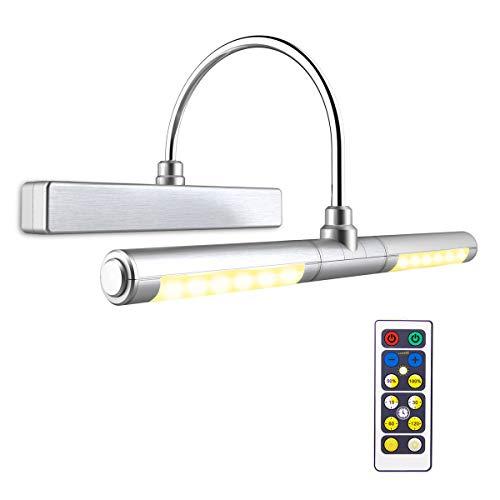 BIGLIGHT Bilderleuchte mit Fernbedienung, kabellose batteriebetriebene LED-Wandleuchte, 33 cm, drehbarer Lichtkopf mit 3 Beleuchtungsmodi, dimmbar, für Dartscheiben-Bilder, silberfarben