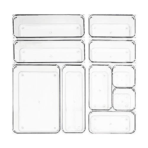 MUHOO Schubladen Ordnungssystem 10er Set Antirutscher Schubladeneinsatz Getrennte Schubladen Organizer Aufbewahrungsboxen für Schreibtisch, Schminktisch, transparent Kunststoff