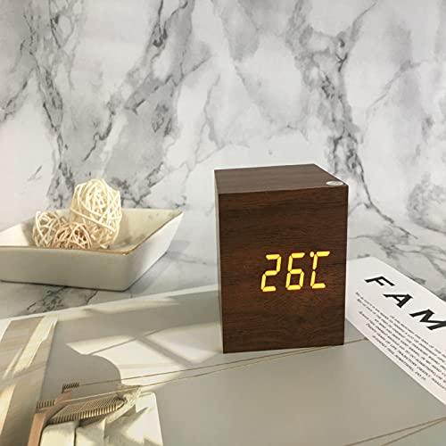 QIANJINGCQ Reloj Despertador electrónico de Madera led Inteligente Creativo, Temperatura muda Luminosa, Reloj Despertador de Doble Pantalla, Reloj de Madera USB