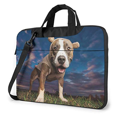 Laptop Sleeve Case, Pitbull Wear Sweater Portable Laptop Bag Laptop Shoulder Messenger Bag Protective Bag 15.6 Inch
