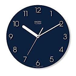 Happy Virus MDF Non-Ticking Silent Quartz Decorative Modern Round Wall Clock Deco Decor 11.2 (Battery not Included)… (5019)